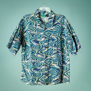 Patagonia M Fish Short Sleeve Button Down Shirt